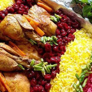 آلبالو پلو با مرغ